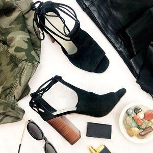 Black Suede Cutout Ankle Tie Sandals